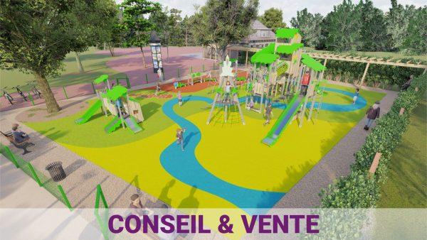 parc de jeux pour enfants avec aménagement urbain ludique et sportif