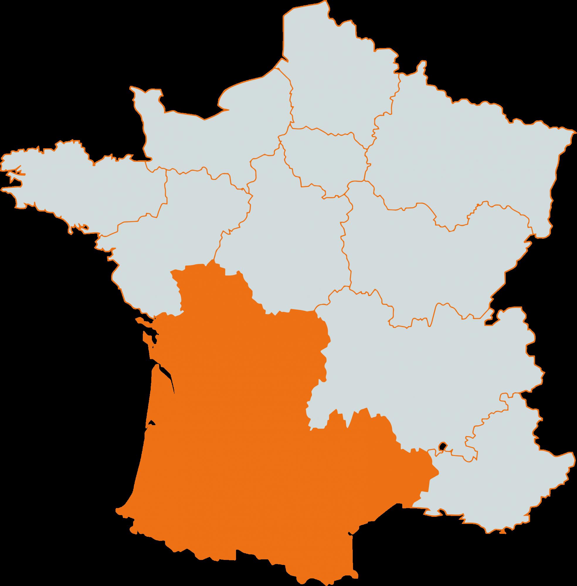 carte de France grand sud ouest